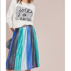 Maeve Blue Sunburst Pleated Midi Skirt